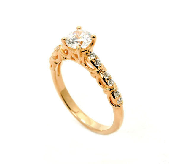 Rose Gold Diamond Engagement Ring Unique Solitaire, .75 Carat GIA Certified Diamond Center & .16 Carats Diamond Accent Stones, Anniversary Ring - 75WDY11690SE