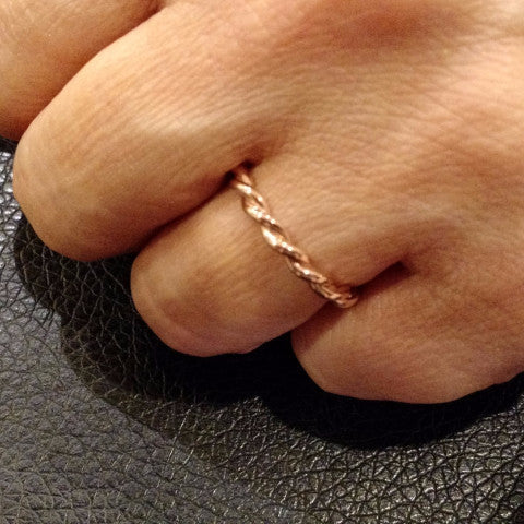 Hand Made 2 Tone Twisted Cable Rope Wedding Band Unique Stackable Ring,14k Rose And White Gold - 2TROP25WB