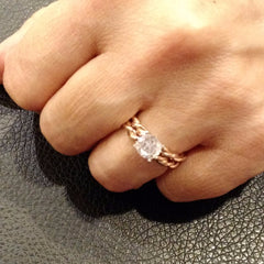 Special Order For Sandy: Hand Made 2 Tone Twisted Cable Rope Wedding Band 14k Rose And Yellow Gold - 2TROP25WB