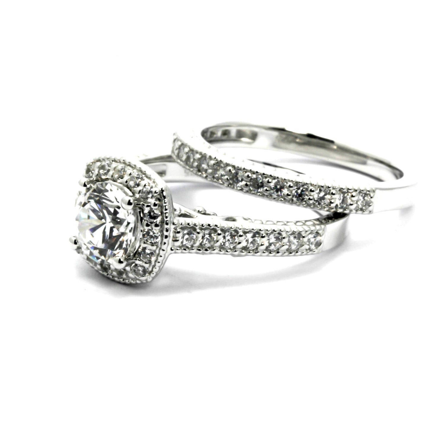 Square Halo Diamond Engagement Ring and Wedding Ring Set Bridal