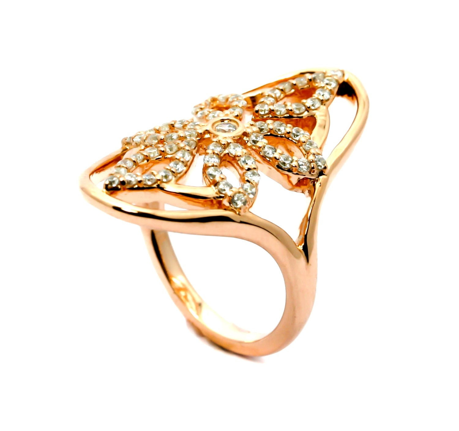 Unique Flower Design Diamond & Rose Gold Cocktail Ring, Goth Style - Y11669