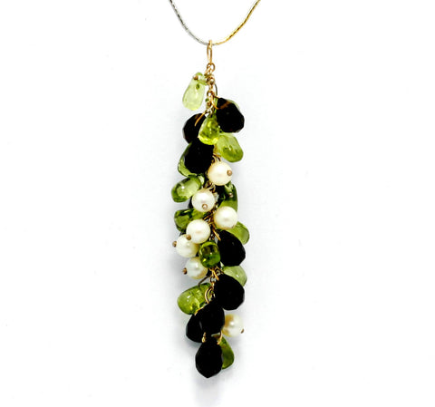 Dangling Pendant With Smoky Topaz, Green Tourmaline and Pearls On 16 inch 14K White and Yellow Gold Chain.