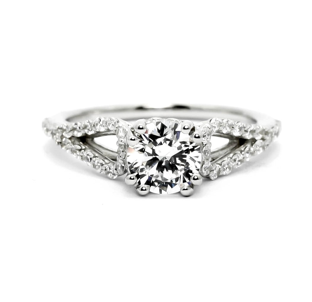 "Unique Split Shank Diamond Engagement Ring and Wedding Band Set, Wedding Set, 6.5 mm ""Forever Brilliant"" Moissanite Anniversary Ring - FBY11574"
