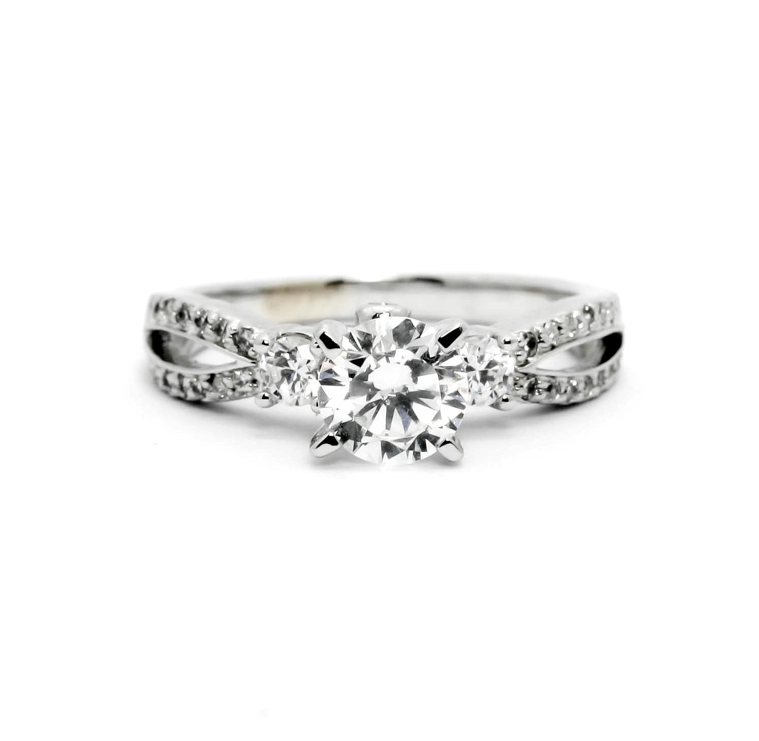 Moissanite Engagement Ring,  Unique 1 Carat Forever Brilliant Moissanite Center Stone, Solitaire, Split Shank, Anniversary Ring - FB76306
