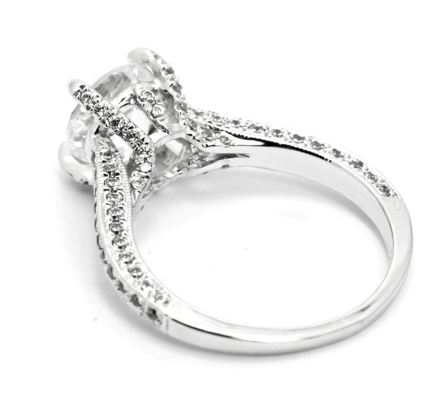 Moissanite Engagement Ring, Unique Solitaire With 2 Carat Forever Brilliant Moissanite & 1.0 Carat Diamonds, Anniversary Ring - FB85051