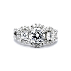 3 Stone Halo Engagement Ring, Unique 1 Carat Forever Brilliant Moissanite, With 1.30 Carat Of Diamonds, Split Shank Anniversary Ring - FBY11610