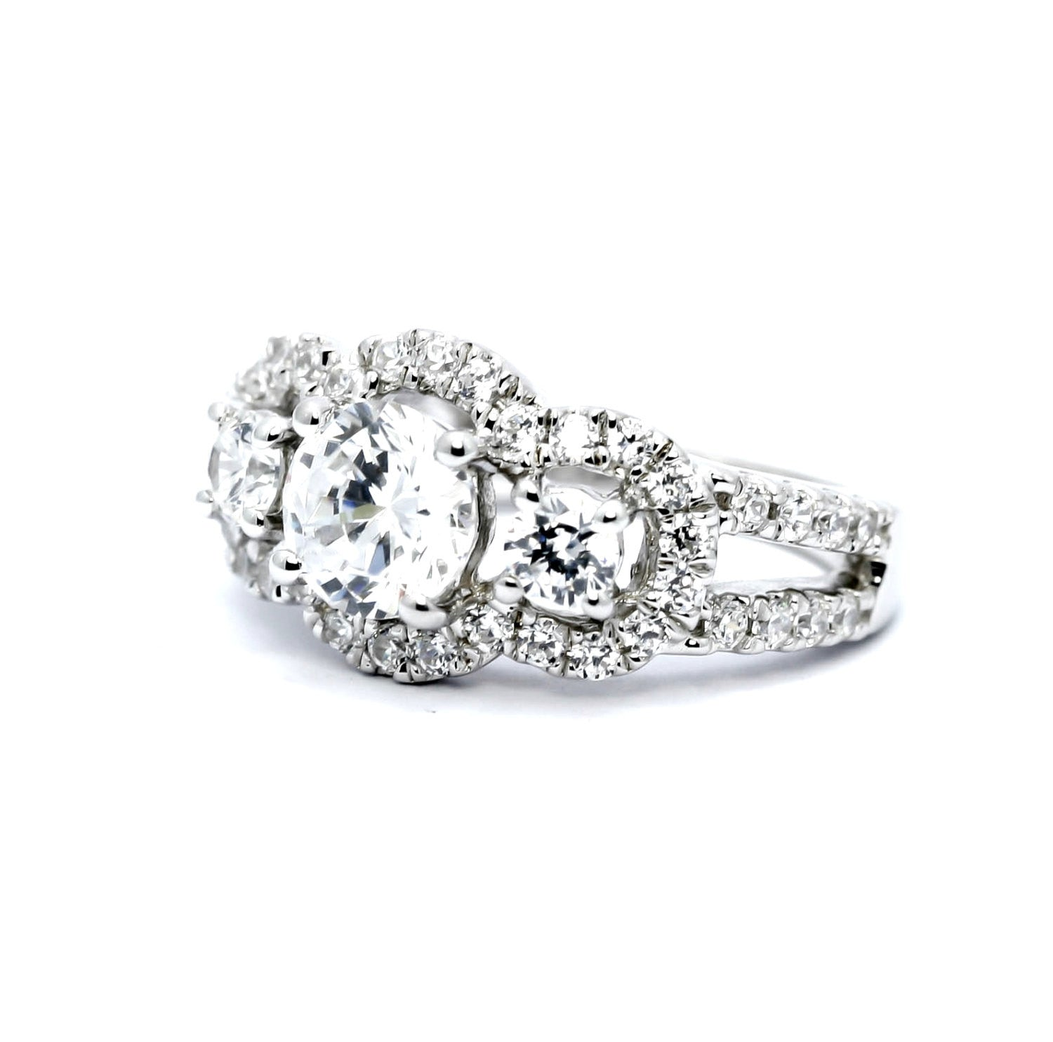 3 Stone Halo Diamond Engagement Ring, Unique 1 Carat Diamond, + 1.30 Carats Of Accent Diamonds, Split Shank Anniversary Ring - WDY11610