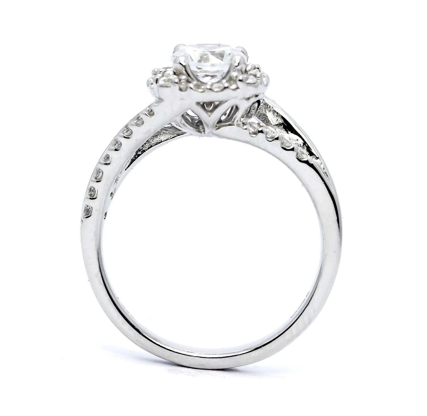 Moissanite & Diamond Square Halo Engagement Ring, Unique With 1 Carat Forever Brilliant Moissanite Split Shank With Diamond Accent Stones - FBY11619