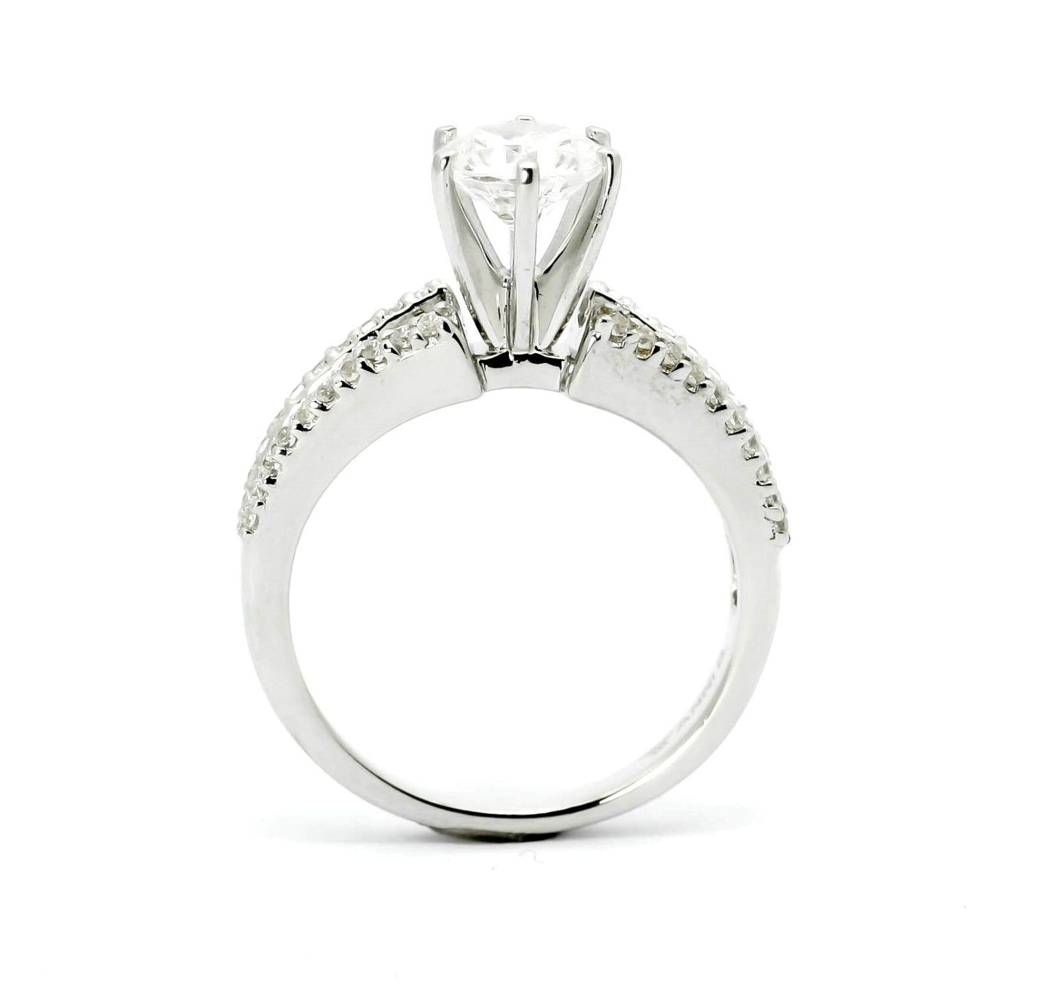 Moissanite Engagement Ring, Unique Solitaire With 6.5 mm Forever Brilliant Moissanite & .64 Carat Diamonds, Anniversary Ring - FBY11603