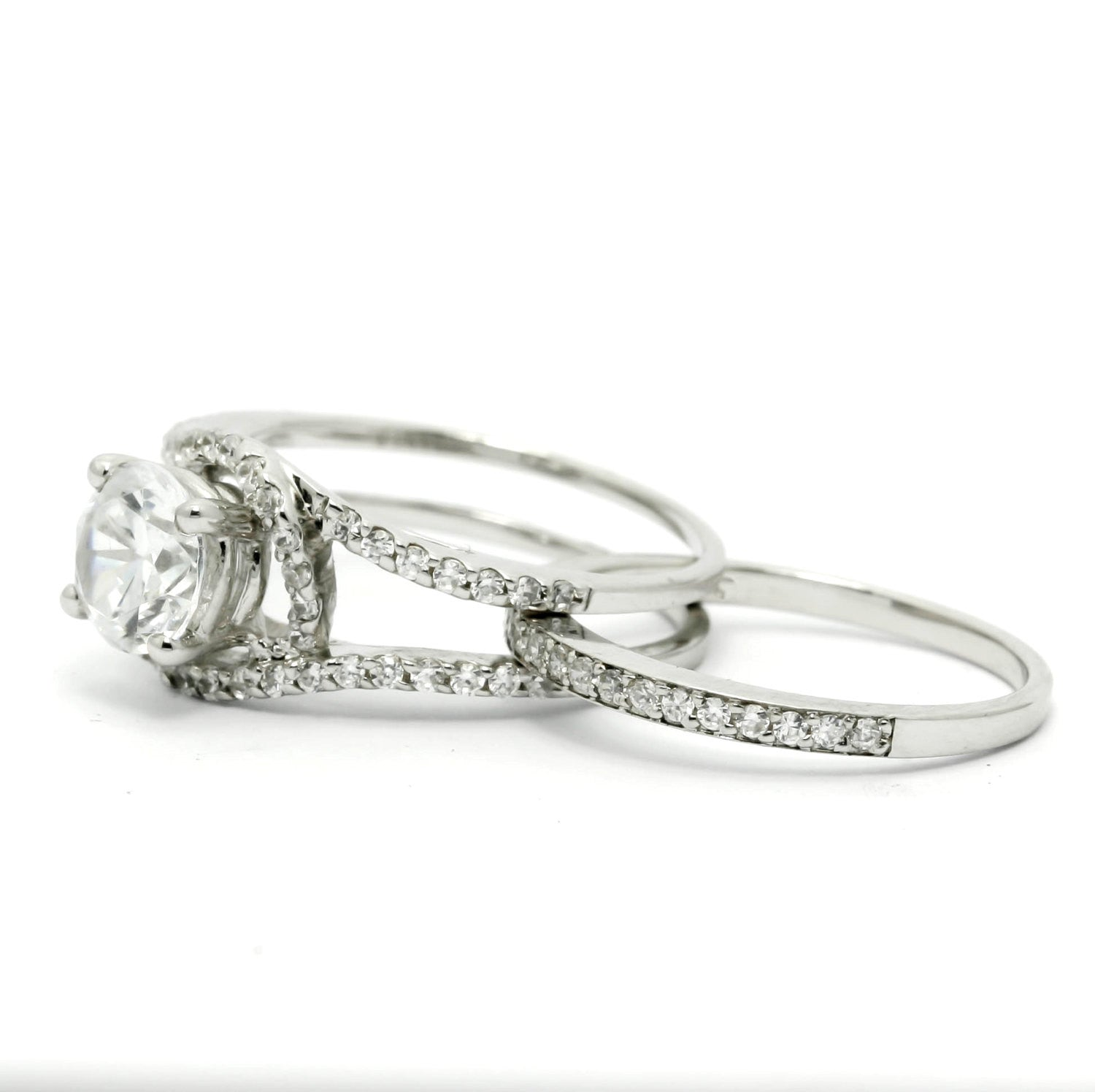 "Unique Halo And Split Shank Design, Diamond Engagement/Wedding Set, With 7 mm ""Forever Brilliant"" Moissanite Anniversary Ring - FBY11580"