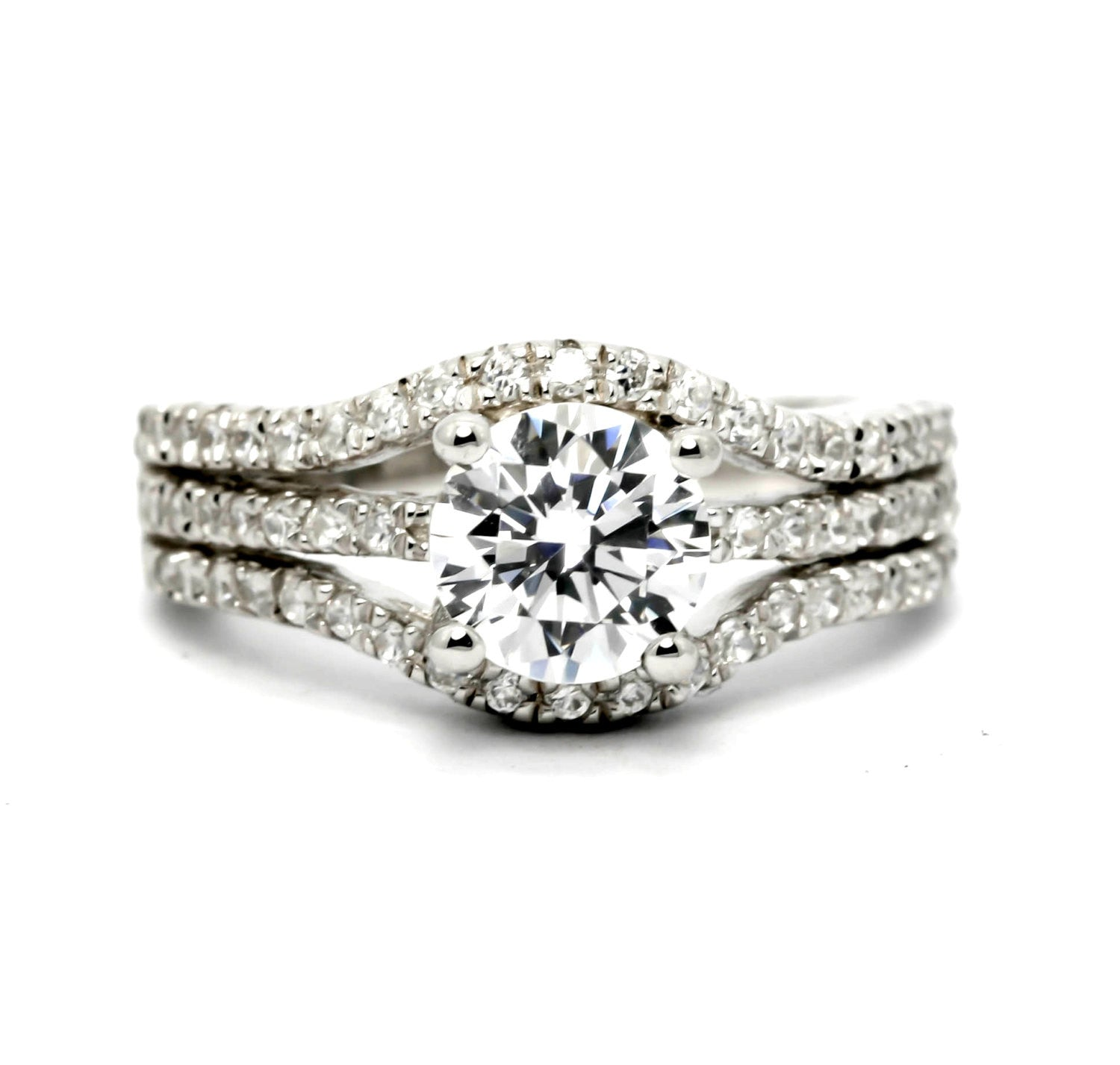 Moissanite Engagement Ring, Unique Triple Shank With .66 Carat Diamond & 1.25 Carat Forever Brilliant Moissanite Center Stone, Anniversary - FBY11605