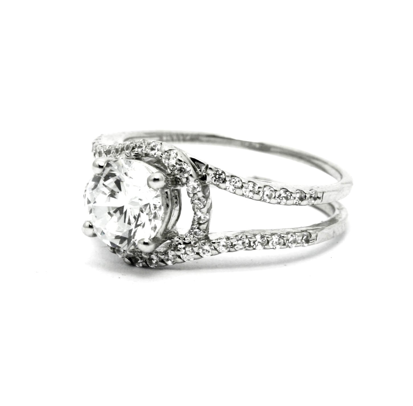 Unique 1.25 Carat (7 mm) Forever Brilliant Moissanite Floating Halo Engagement Ring With .47 Carat White Diamonds, Split Shank - FBY11580SE