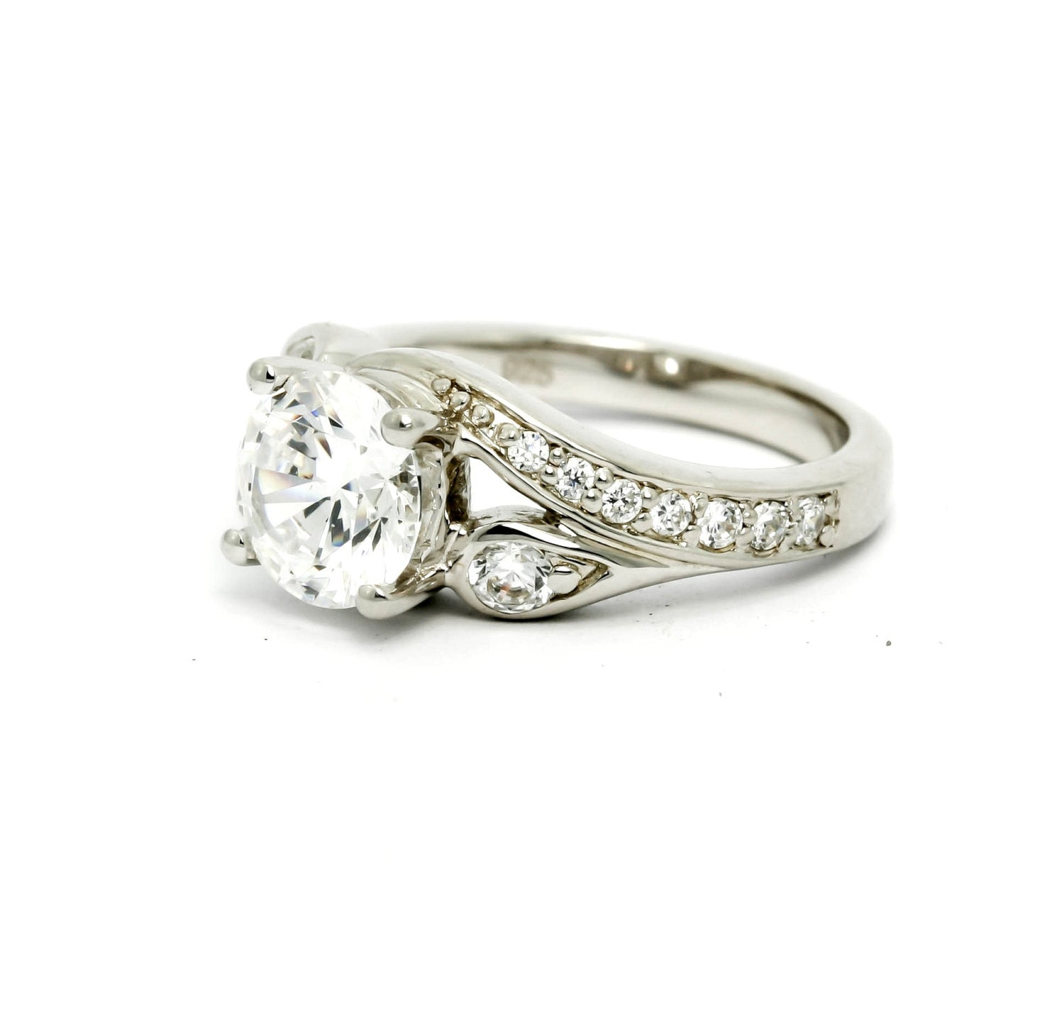 "Unique Design Shank, Diamond Engagement Ring 8 mm (2 Carat) ""Forever Brilliant"" Moissanite Anniversary Ring - FBY11600SE"