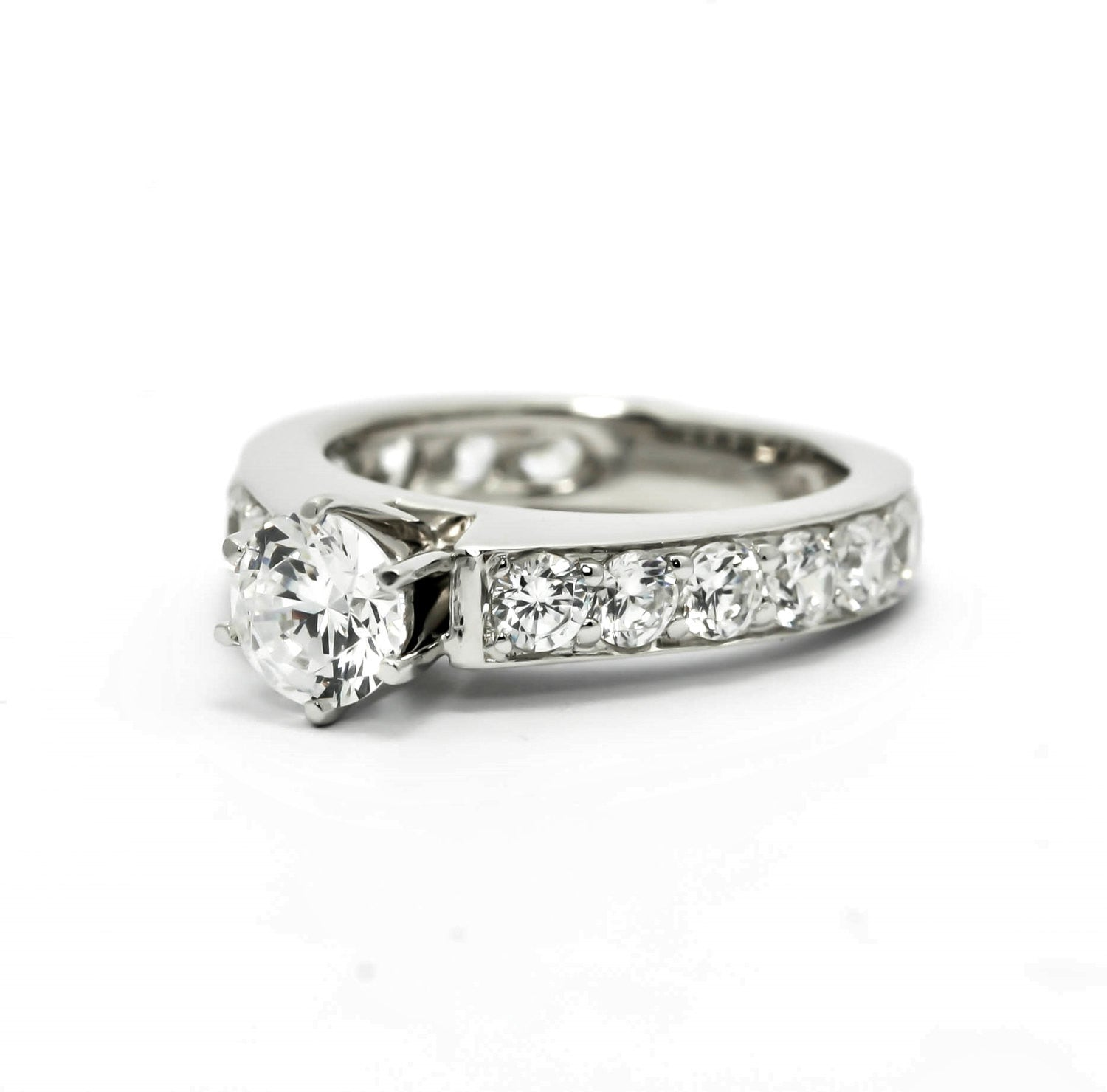 Moissanite Engagement Ring, Unique Solitaire With 1 Carat Forever Brilliant Moissanite & 2.62 Carat Diamonds, Anniversary Ring - FBY11637