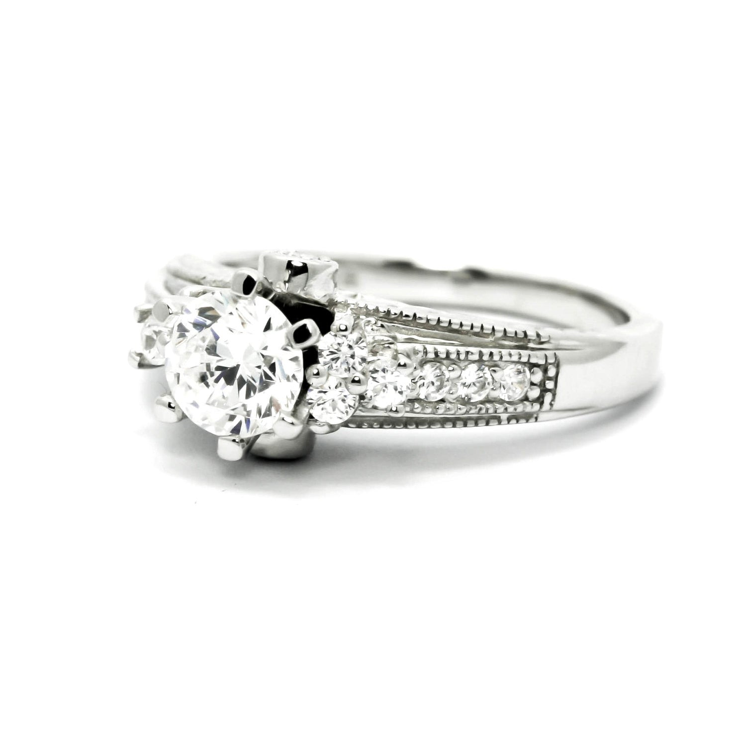 "Antique Looking Diamond Engagement Ring With 6.5 mm  ""Forever Brilliant"" Moissanite And .34 Carats Of Diamonds, Anniversary Ring - FBY11623"