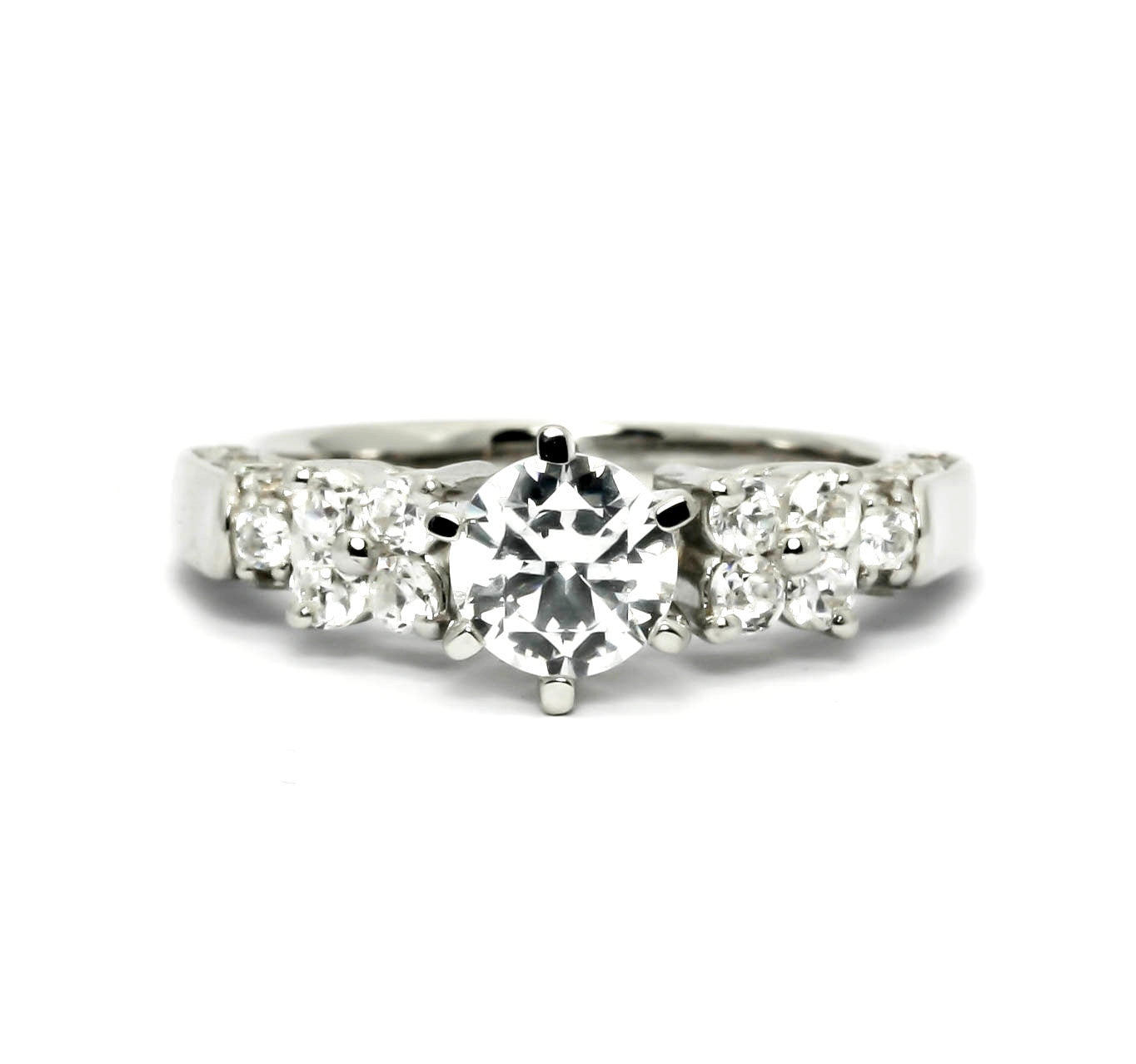 Moissanite Engagement Ring, Unique .75 Carat (6 mm)  Forever Brilliant Moissanite Center Stone & .70 Carat Diamonds, Anniversary Ring - FBY11601