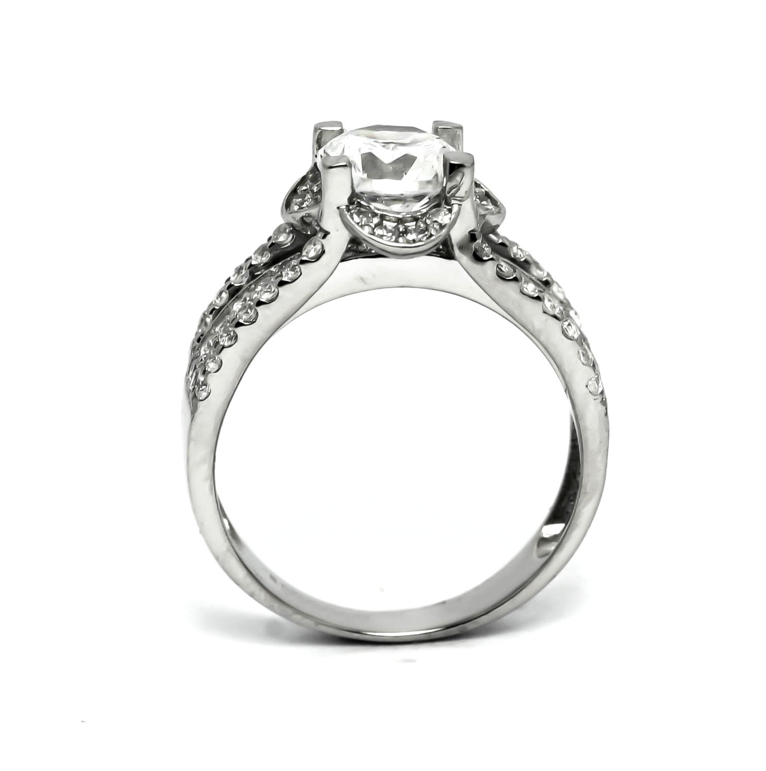 Moissanite Engagement Ring, Unique Halo 4 Line Shank With .70 Carat Diamond & 1.25 Carat Forever Brilliant Moissanite Center Stone - FBY11579