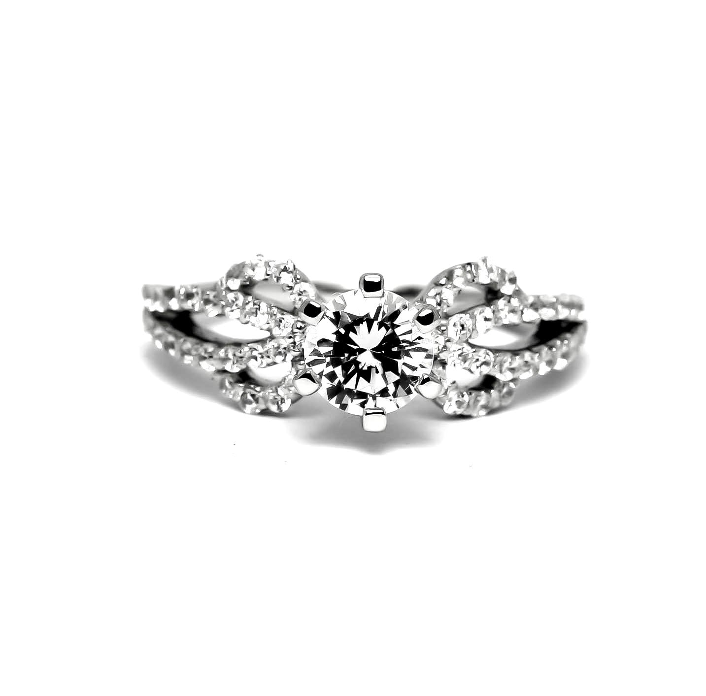 "Unique Split Shank Diamond Engagement & Wedding Ring Set, Unique Wedding Set Design, 6.5 mm ""Forever Brilliant"" Moissanite Anniversary Ring - FBY11576"