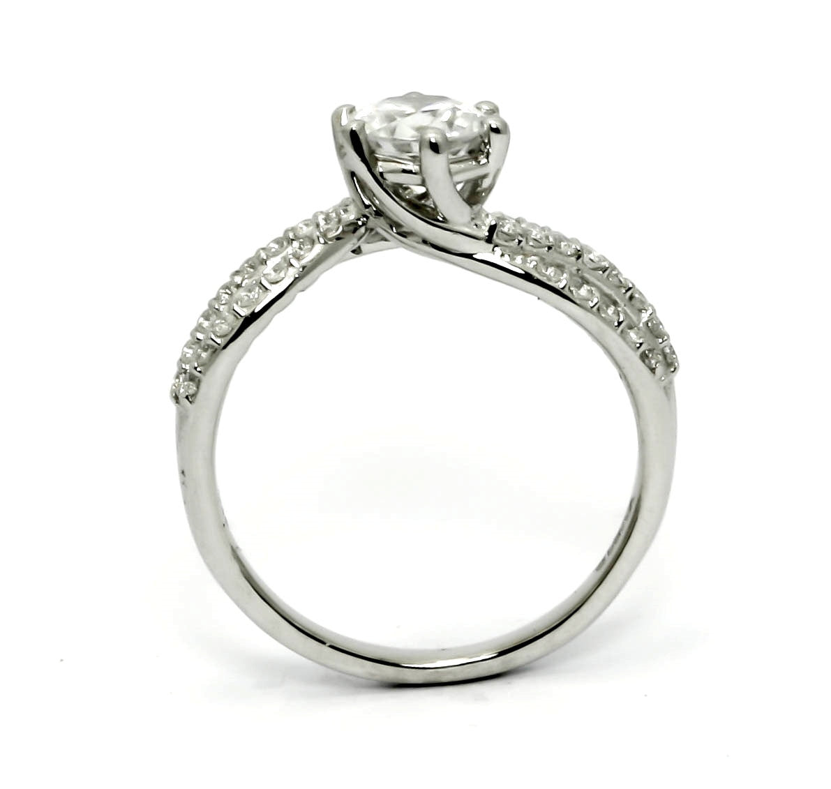 "Unique 3 Line Shank Diamond Ring Engagement And Wedding Set, 6.5 mm ""Forever Brilliant"" Moissanite Anniversary Ring - FBY11575"