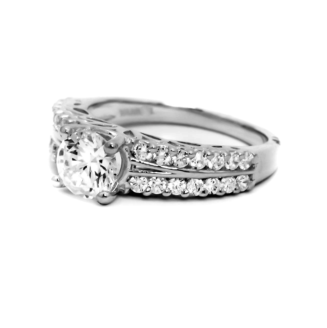"Diamond Engagement Ring With 1 Carat  ""Forever Brilliant"" Moissanite And .57 Carats Of Diamonds, Anniversary Ring - FBY11581"