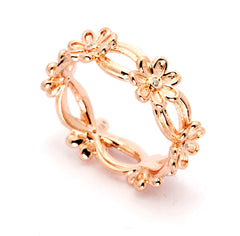 Flower Design, Diamond Wedding Band,14k Rose Gold, White Gold,Yellow Gold, With .07 Carats Diamonds - Y501061/2