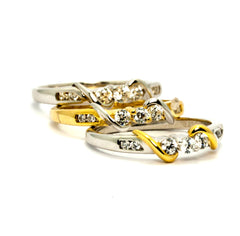 Unique Diamond Wedding Band,14k Two Tone Gold, White Gold,Yellow Gold, 7 Diamonds .27 Carats Total - Y11604