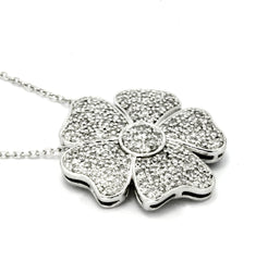 14k White Gold Flower Diamond Pendant
