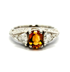 Art Deco Look Citrine Gemstone Engagement Ring, Unique With 2 Trillion Diamonds, Cocktail Ring, Anniversary Ring