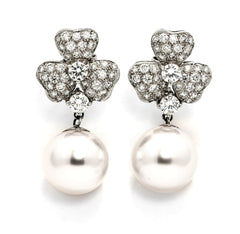 South Sea Pearls & Diamonds Earrings, Flower Earrings.
