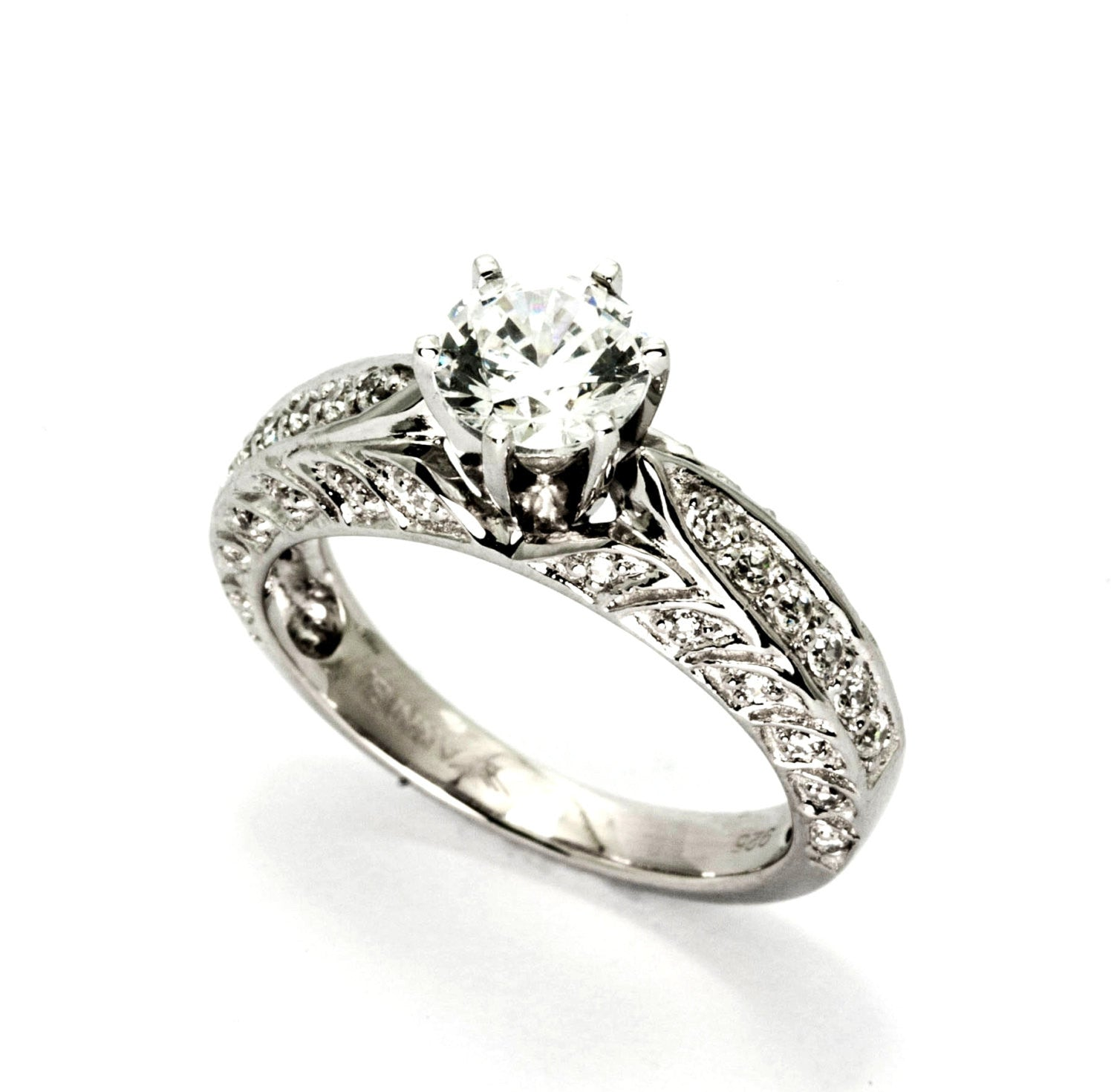 "Diamond Engagement Ring With 1 Carat  ""Forever Brilliant"" Moissanite And .49 Carats Of Diamonds, Anniversary Ring - FBY11622"