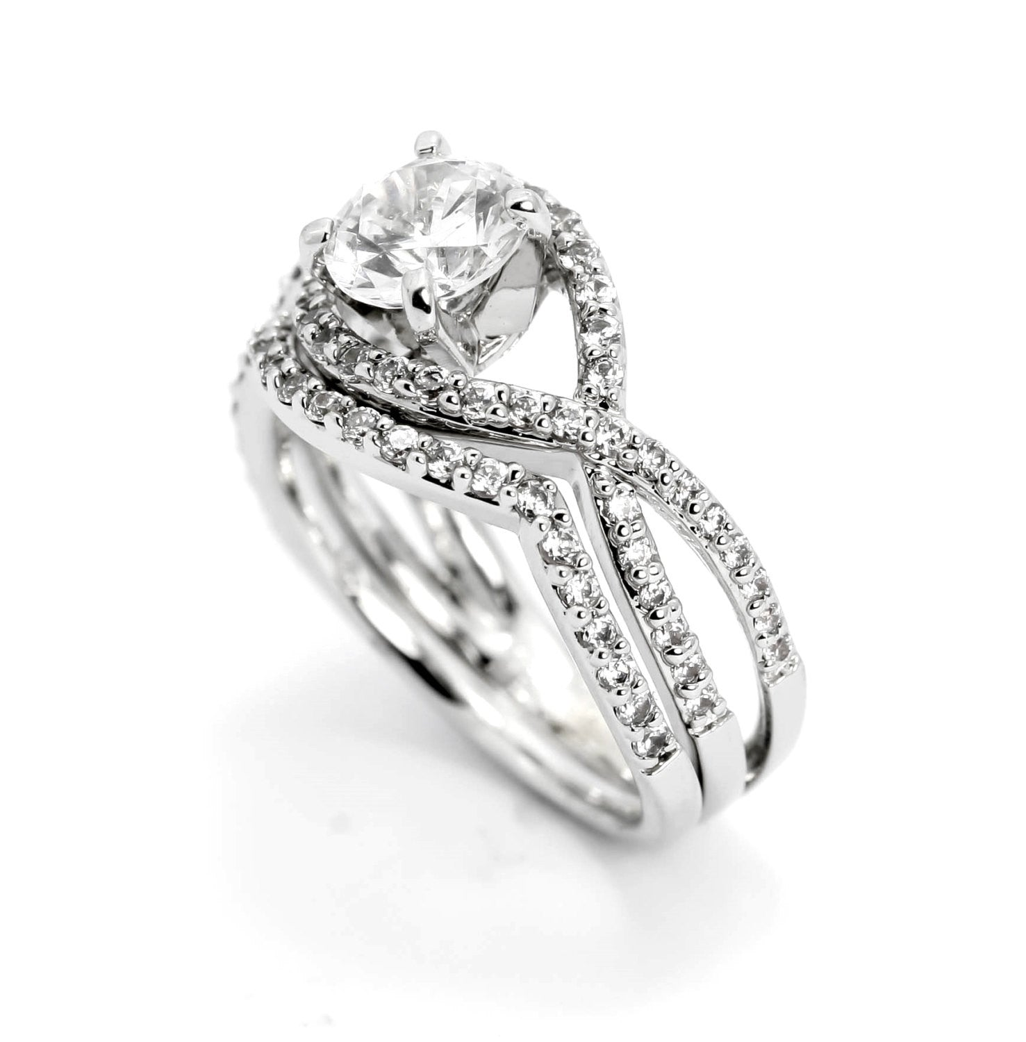 Engagement Ring & Wedding Band, Unique Infinity Style With .75 Carat Diamonds, Split Shank 1 Carat Forever Brilliant Moissanite Center Stone - FB85040