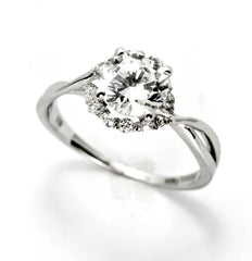 Semi Mount Engagement Ring, Unique Halo Design For 1 Carat (6.5 mm) Center Stone Has .17 Carat Diamonds, Anniversary Ring - Y11657