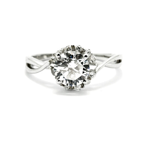 Diamond Engagement Ring, Unique Halo Design With 1 Carat Diamond Center Stone & .17 Carat Diamonds Accent Stones, Anniversary Ring - WDY11657