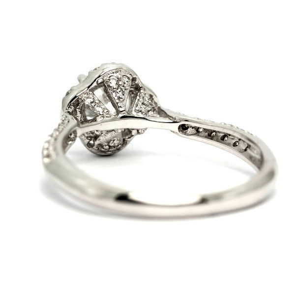 Unique Floating Halo 6.5 mm Forever One Moissanite Engagement Ring, 14k Gold, .35 carat of Diamonds - FBY11652