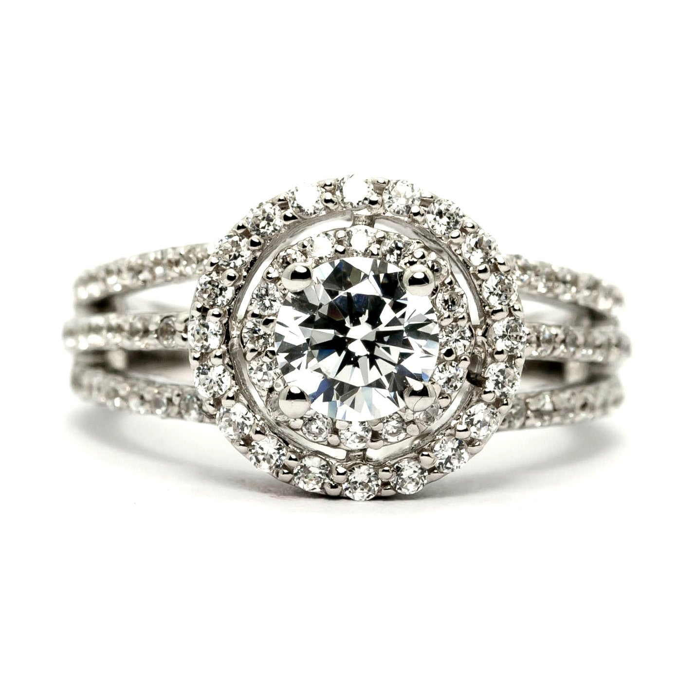 Semi Mount For 1 Carat Double Halo Center Stone Engagement Ring, Unique Triple Shank Ring with .82 Carat Diamonds - Y11295