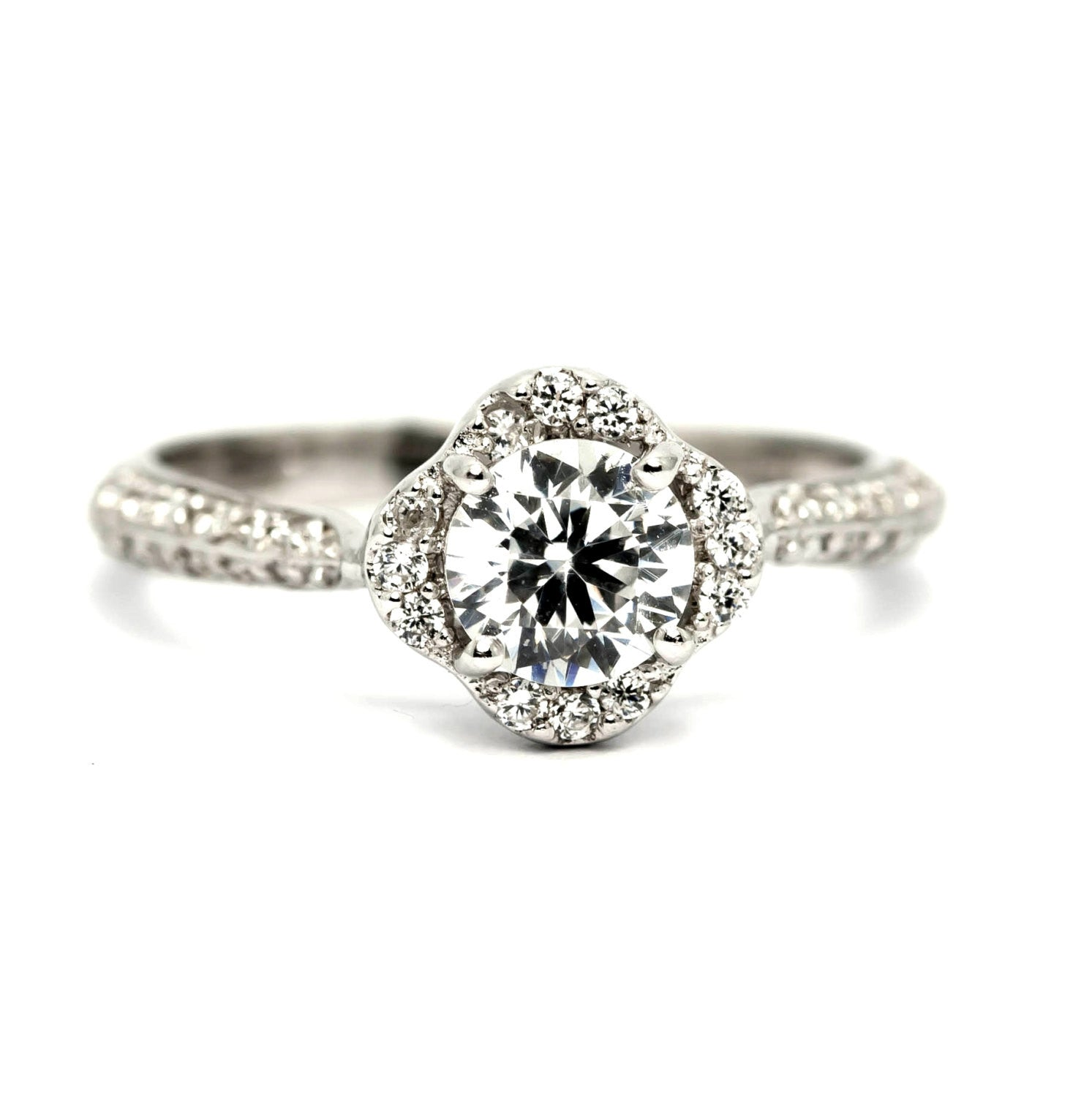 Unique Semi Mount Floating Halo For 1 Carat Center Stone Engagement Ring, 14k Gold, .35 carat of Diamonds - Y11652