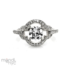 1 Carat Forever Brilliant Moissanite & .44 Carat Diamonds Unique Shape Floating Halo Art Deco Engagement Ring, Anniversary Ring - FBY11279