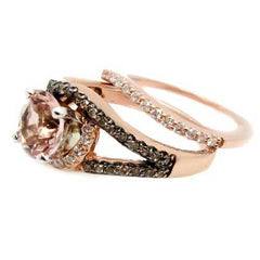 1 Carat Morganite Floating Halo Rose Gold Engagement And Wedding Set With .46 Carat White & Chocolate Brown Diamonds, Split Shank - MG94648