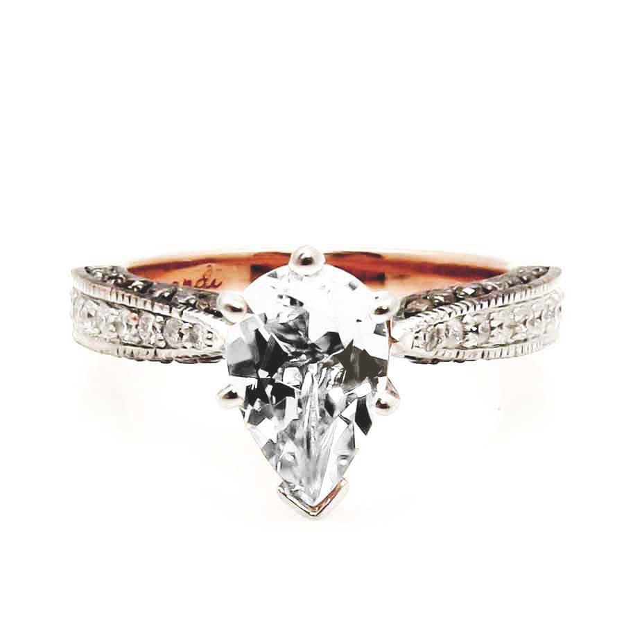 1 Carat Pear Shaped Forever Brilliant or Forever One Moissanite Engagement Solitaire, Copy of Rose Gold, White & Brown Diamonds, Anniversary Ring - PSFB94614