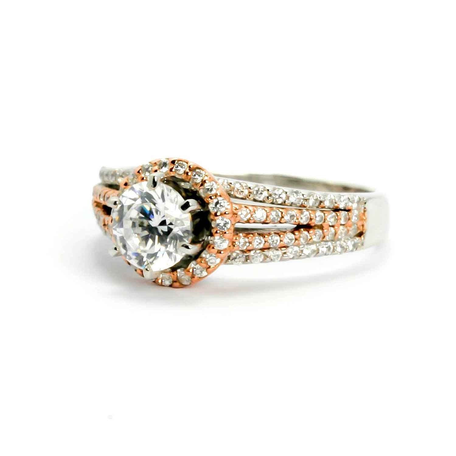Floating Halo White & Rose Gold, 4 Shanks Engagement Ring With 6.5 mm Forever Brilliant Moissanite, Anniversary Ring - FBY11545