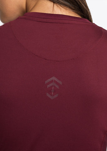 Burgundy Fitted Technical T-shirt