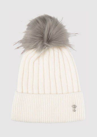 Cream Thick Soft Wool Pom Beanie