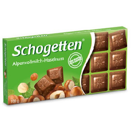 Schogetten Alpine Milk Hazelnut Chocolate Bar 100g (15-pack)