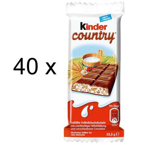 Kinder Country Milk Chocolate with Rice Crisps and Rich Milk Filling Bar, 40-pack