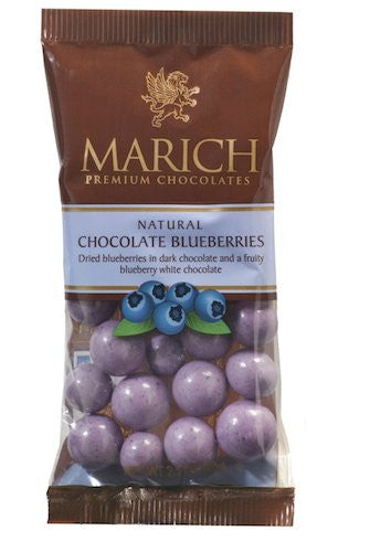 Marich Natural Chocolate Blueberries, 2.1-Ounce (Pack of 12)
