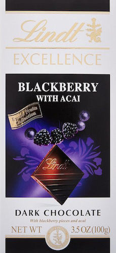 Lindt Excellence Dark Chocolate Blackberry with Acai, 3.5-Ounce Bars (Pack of 12)