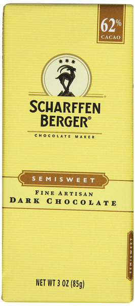 Scharffen Berger 62% Semisweet Dark Chocolate 3-Ounce Bars (Pack of 6)