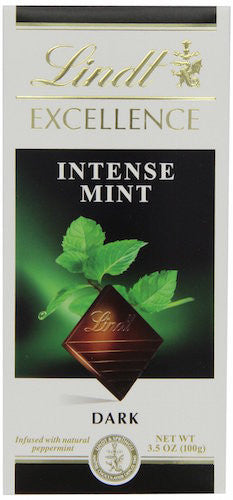 Lindt Excellence Intense Mint Dark Chocolate, 3.5oz Bar (Pack of 12)