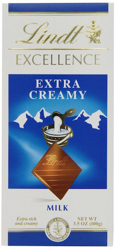 Lindt Excellence Extra Creamy Milk Chocolate, 3.5-Ounce Bars (Pack of 12)