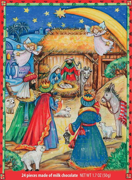Windel Nativity Scene Advent Calendar For Religious Holiday - 24 Pieces 1.7 oz